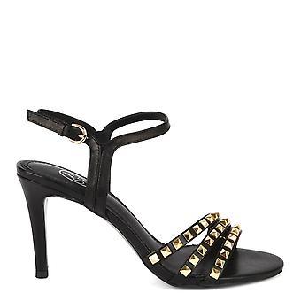 aske fottøy hello svart skinn heeled sandaler