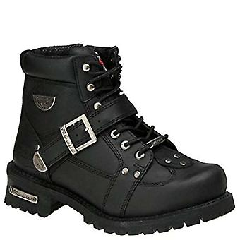 Milwaukee Mens Road Captain Leather Closed Toe Ankle Motorcycle Boots