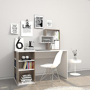 White Hermes Desk, Cordoba en puce melaminique 130x60x75 cm,60x20x60 cm