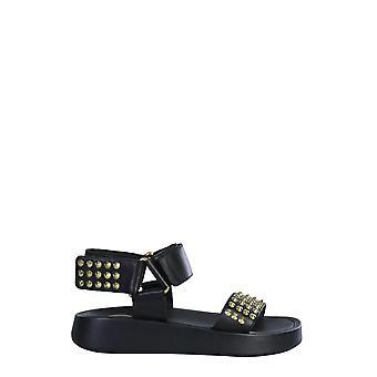 Ash Volcano01 Kvinnor & s svart läder sandaler