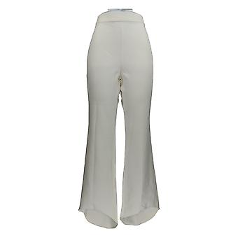 Masseys Women's Pants High-Low Pull On Mom Style White