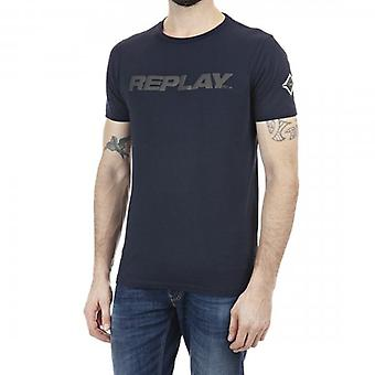 Replay heijastava logo crew neck t-paita navy m3142