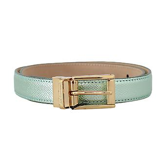 Dolce & Gabbana Green Shiny Leather Gold Buckle Belt Light