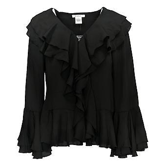 K Jordan Women's Top Long Sleeve Button Front Black