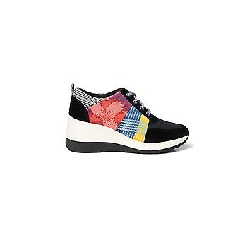 Desigual Black Wedge Patch Trainers avec détail coloré