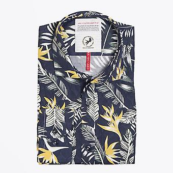 A Fish Named Fred - Tropical Floral Print Shirt - Navy