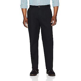 Pantalone Chino plissettato resistente alle rughe essentials da uomo, vero nero, 36W x 28L
