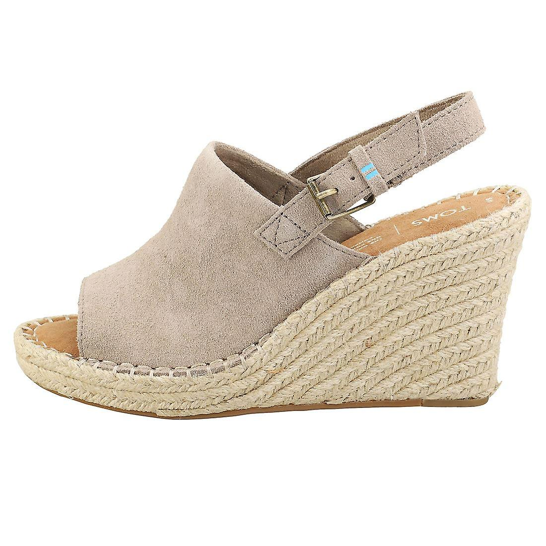 Toms Monica Womens Wedge Sandals in Taupe