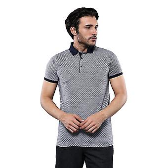 Patterned grey men's polo shirt   wessi