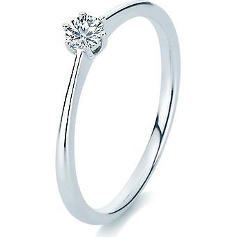 Anello di diamante - 14K 585/- oro bianco - 0.15 ct.