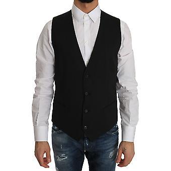 Dolce & Gabbana Gray Wool Dress Stretch Vest TSH2429-1