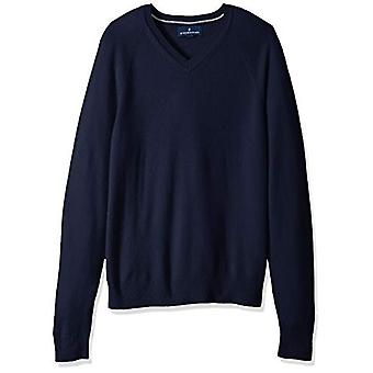 BUTTONED DOWN Men's 100% Premium Cashmere V-Neck Sweater, Midnight Navy, Large