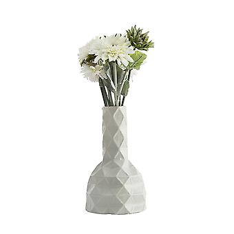 Geometric Polyhedron Ceramic Frosted Vases Small White