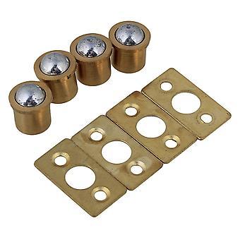 4PCS 9.5mm Dia Cylindrical Closet Door Ball Catch & Strike Plate