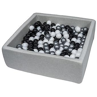Poço de bola quadrada 90x90 cm com 300 bolas de preto, branco e prata
