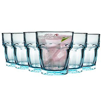 Bormioli Rocco Rock Bar Lounge Ridged Tumbler Glasses Set - 270ml - Blue - Pack of 12