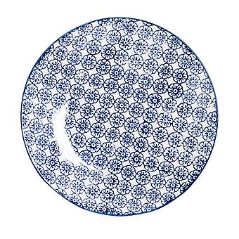 Nicola Spring Hand-Printed Side Plate - Japanese Style Porcelain Dessert Bread Plates - Navy - 18cm