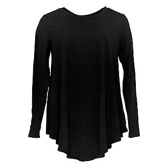 Anybody Women's Top Cozy Knit Long Sleeve Swing Style Black A293070