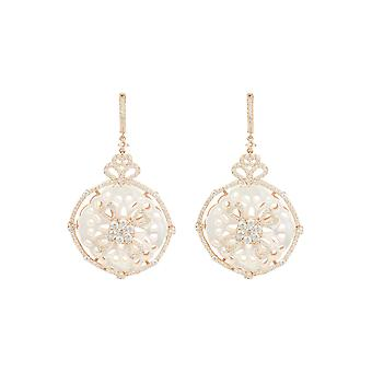 Round Dream Catcher Mother Pearl Gemstone Drop Earrings Bridal Pink Rose Gold