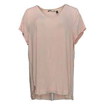 H by Halston Women's Plus Top Cap Sleeve V-neck W/Mesh Trim Pink A292235