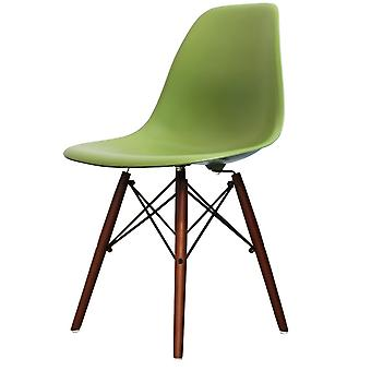 Charles Eames Style Green Plastic Retro Side Chair Walnut Legs