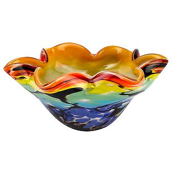 """8.5"""" Mouth Blown Art Glass Wavy Inch Centerpiece or Candy Bowl"""