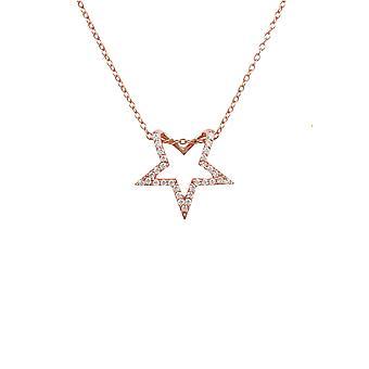 Diamond Gemstone Star Pendant Necklace Pink Rose Gold Round Brilliant White Gift