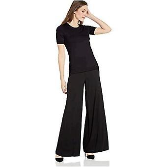 Lark & Ro Women's Short Sleeve Crew Neck Pima Cotton Sweater, Black,Small