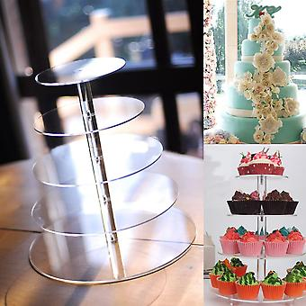 5 Tier Akryl Cupcake Cake Stand Party Bryllup Fødselsdagskage Tower Display