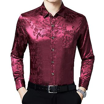 Mens Floral Printed Long Sleeve Dress Shirts Prom Party Top