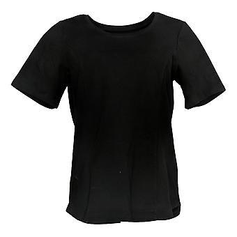Bob Mackie Women's Essentials Scoop Neck Short Slv Tee Top Black A305608
