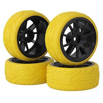RC1:10 Na ceste auto čierna 10Spoke kolesá ráfiky & žltá rybia stupnica pneumatiky sada 4