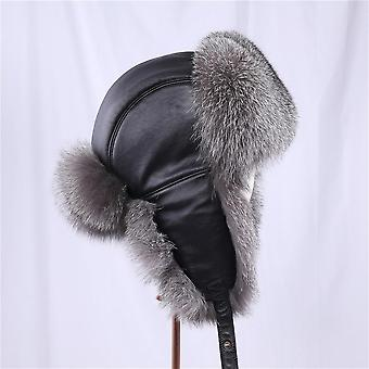 Men's 100% Real Silver Fox Fur Bomber Hat Raccoon Fur Ushanka Cap