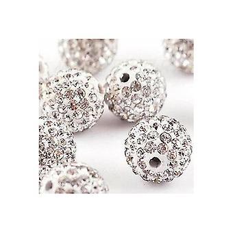 10 Pcs Wholesale 10mm White Shamballa Crystal Pave Clay Disco Ball/beads Czech