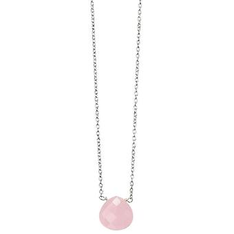 Anfänge Teardrop Quarz Halskette - rosa/Silber