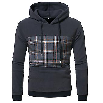 Men's Stitching Plaid Hooded Pullover Long Sleeve Sweatshirt