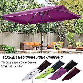 Yescom 10x6.5ft (2x3m) Rectangle Aluminum Patio Umbrella w/ Valance Sunshade Crank Tilt Market Garden Yard Wine Red