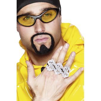 Smiffys 3 az 1-ben dollár rapper gyűrű - ezüst