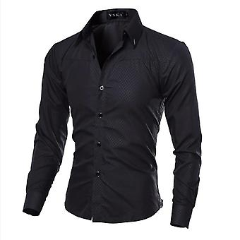 Coton Mens Ciothing, Chemise souple solide Manches longues, Casual Slim Fit