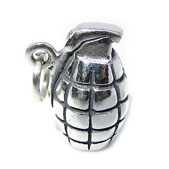 Grenade Sterling Silver Charm .925 X 1 Hand Grenades Charms - 8287