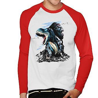 King Kong Vs T Rex Character Heads Men's Baseball Long Sleeved T-Shirt