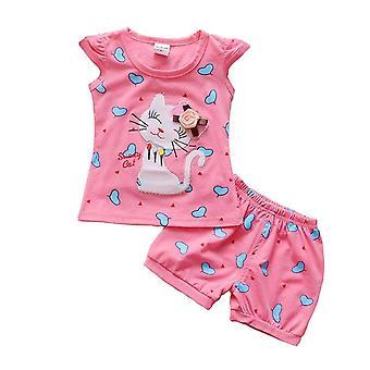 Girls Cat and Heart camiseta Top y Short Set