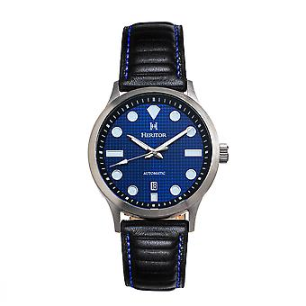 Heritor Automatic Bradford Leather-Band Watch w/Date - Blue & Black