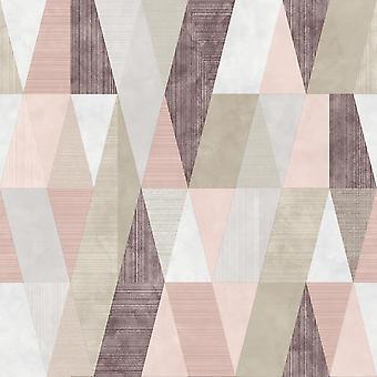 Vertex Geometric Pink Rasch Wallpaper
