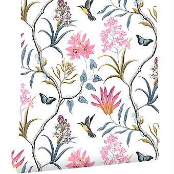 Self Adhesive Floral Birds Wallpaper Modern Pink Flower Wallpaper - Home