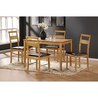 Rufus Oak Rectangle Table 4 Chairs