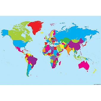 """Smart Poly Charts, 13"""" X 19"""", World Map, Pack Of 10 Poster"""