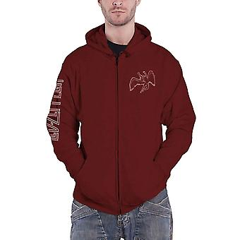 Led Zeppelin Hoodie Symbols Band Logo new Official Mens Maroon Red Zipped