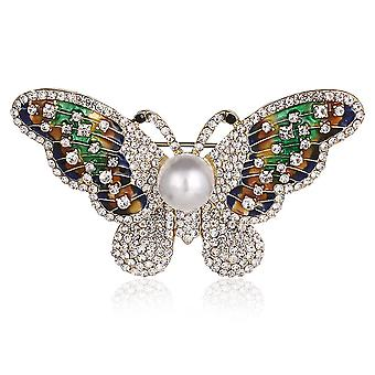 Corsage Butterfly Ladies Brooch Painted Colored Glaze Pearl Brooch Pin