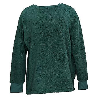 Cuddl Duds Women's Sweater Plus Shaggy Sherpa Pullover Top Green A381801